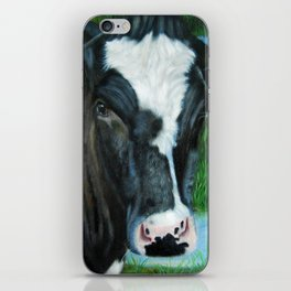 Muddy Fields Cow Painting iPhone Skin
