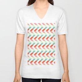 Chevron Raspberry and Peach - Geometric pattern  Unisex V-Neck
