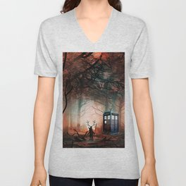 TARDIS IN THE FOREST Unisex V-Neck