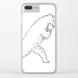 Kodiak Bear Left Straight Punch Drawing Clear iPhone Case