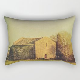 A cute small stone house without windows Rectangular Pillow