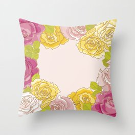 Yellow and pink roses. Spring mood. Throw Pillow