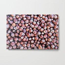 Pattern Of Hazel Or Filbert Nuts Of Brown Color Metal Print
