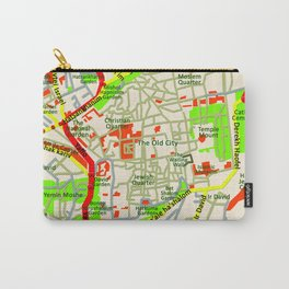 Jerusalem Map , Israel Carry-All Pouch