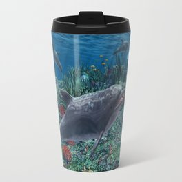 Dolphins play in the reef Travel Mug