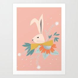 floral rabbit on pink illustration Art Print