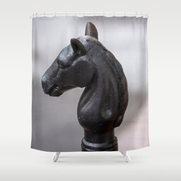 Standing Guard - Horse Head Hitching Post in New Orleans French Quarter Shower Curtain