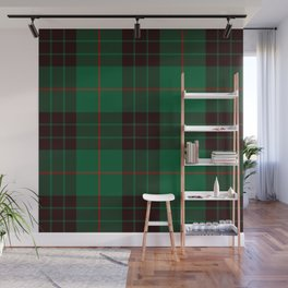 Dark Green Tartan with Black and Red Stripes. Large-Scale Plaid Pattern. Wall Mural