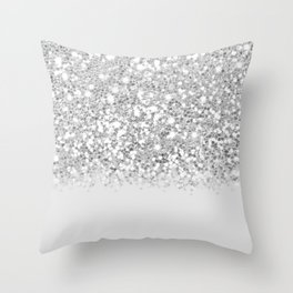 Dazzling Silver Gradient  Throw Pillow