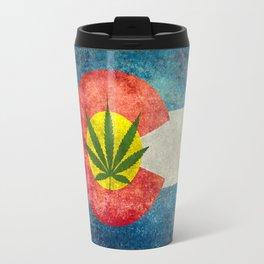 Retro Colorado State flag with leaf - Marijuana leaf that is! Travel Mug