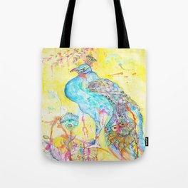 Where Peacocks Kiss the Raindrops Tote Bag