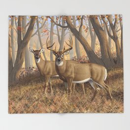 Whitetail Deer Trophy Buck and Doe in Autumn Throw Blanket
