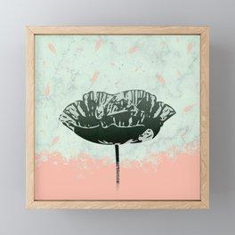 Beautiful Poppy Flower on Marble Design Framed Mini Art Print
