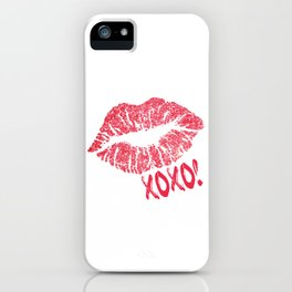 Glitter Kiss Sparkling Lips Sexy Lipstick XOXO iPhone Case