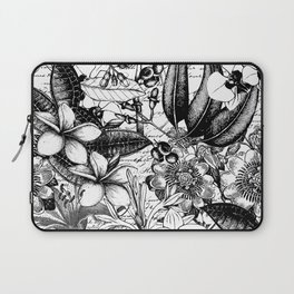 Black And White Tropical Flower Pattern Laptop Sleeve