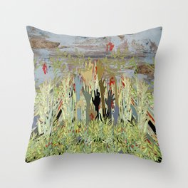 Zombie Garden Wall Throw Pillow