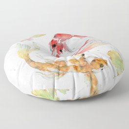 "Watercolor Painting of Picture ""Koi Pond"" Floor Pillow"