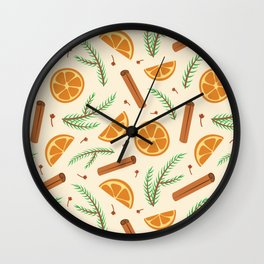 Cozy holiday winter pattern with orange and pine tree branches - creme Wall Clock