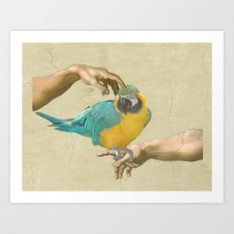 scritching a macaw Art Print