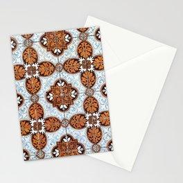 Lisbon tiles - decoratives in orange and blue Stationery Cards