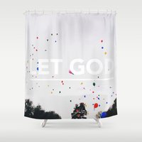 let it go Shower Curtains featuring Let Go, Let God by Tim Chung