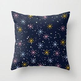 Snowing Stars Throw Pillow