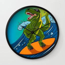 Cartoon illustration of a dinosaur surfing. Wall Clock