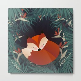 Cute Sleping Forest Fox Metal Print