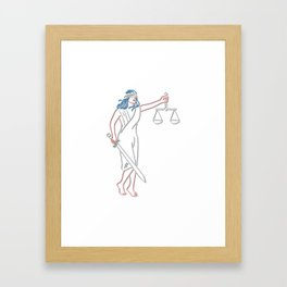 Lady Justice Holding Sword and Balance Neon Sign Framed Art Print