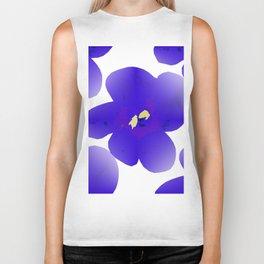 Large Retro Blue Flowers #1 White Background #decor #society6 #buyart Biker Tank