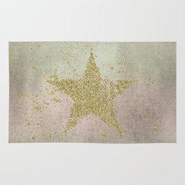 Sparkling Glamorous Golden Star Rug