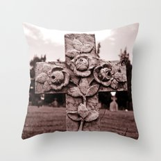 Cross of roses Throw Pillow