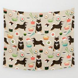 shiba inu sushi black and tan dog breed pet pattern dog mom Wall Tapestry