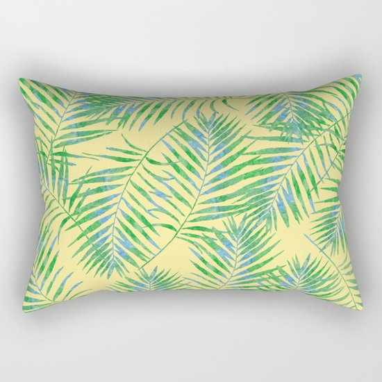 Fern Leaves Yellow Rectangular Pillow