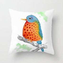 Polka Dot Bluebird Throw Pillow