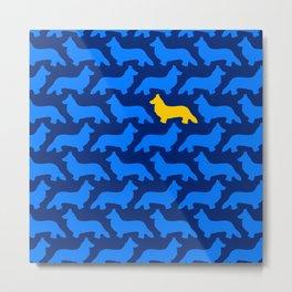 Blue and Yellow Midnight Welsh Corgi Silhouette Pattern Metal Print