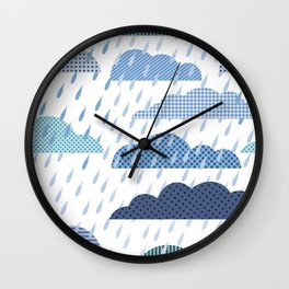 Rainy seamless pattern with clouds Wall Clock