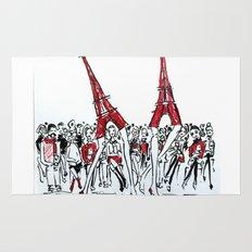 A Paris Runway Fashion Illustration Rug