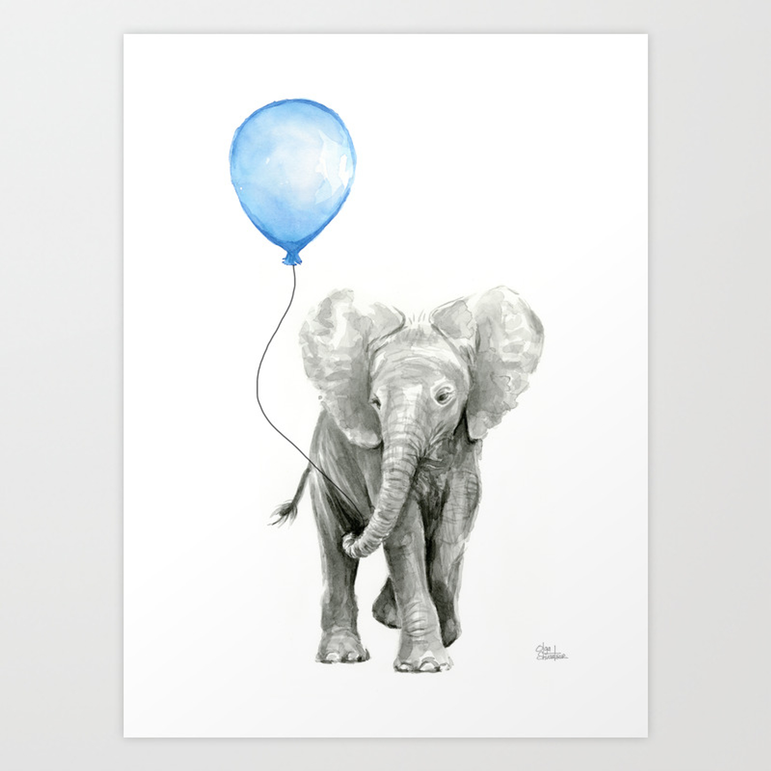 Baby Animal Elephant Watercolor Blue