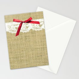 girly burlap and lace with pink bow Stationery Cards