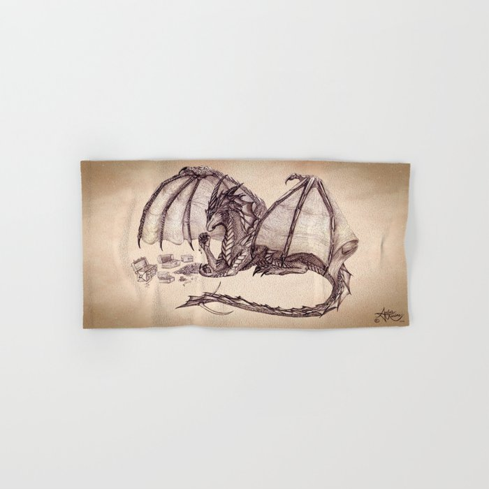 """""""Material Girl"""" by Amber Marine ~ Graphite & Charcoal Dragon Art, (Copyright 2005) Hand & Bath Towel"""