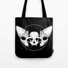 Sphynx Cat and Its Skull - dark art - black and white Tote Bag