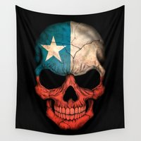 chile Wall Tapestries featuring Dark Skull with Flag of Chile by Jeff Bartels