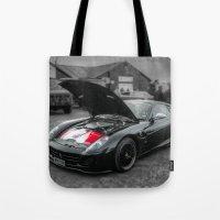 sports Tote Bags featuring Sports car by john nicholson