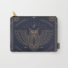 Owl Gold on Black with White Pattern Carry-All Pouch
