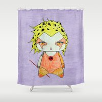 thundercats Shower Curtains featuring A Girl - Cheetara (Thundercats) by Christophe Chiozzi