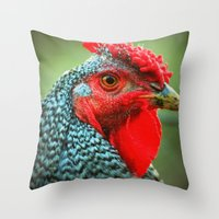 rooster Throw Pillows featuring Rooster by Nichole B.