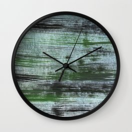 Gray green striped abstract Wall Clock
