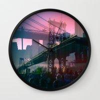 dumbo Wall Clocks featuring DUMBO Bridge by E.R.