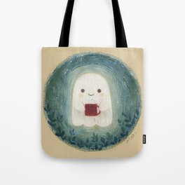 Little ghost with mug Tote Bag